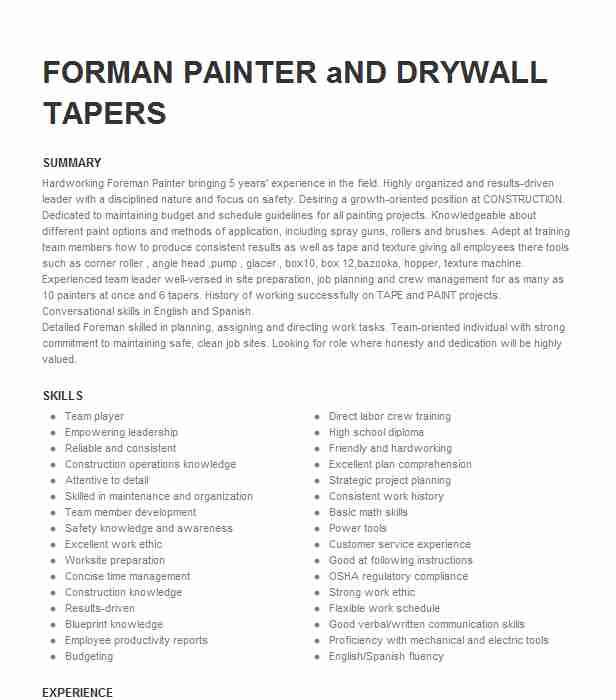drywall taper resume example standard inc sample agile best type of mail subject Resume Drywall Taper Resume Sample
