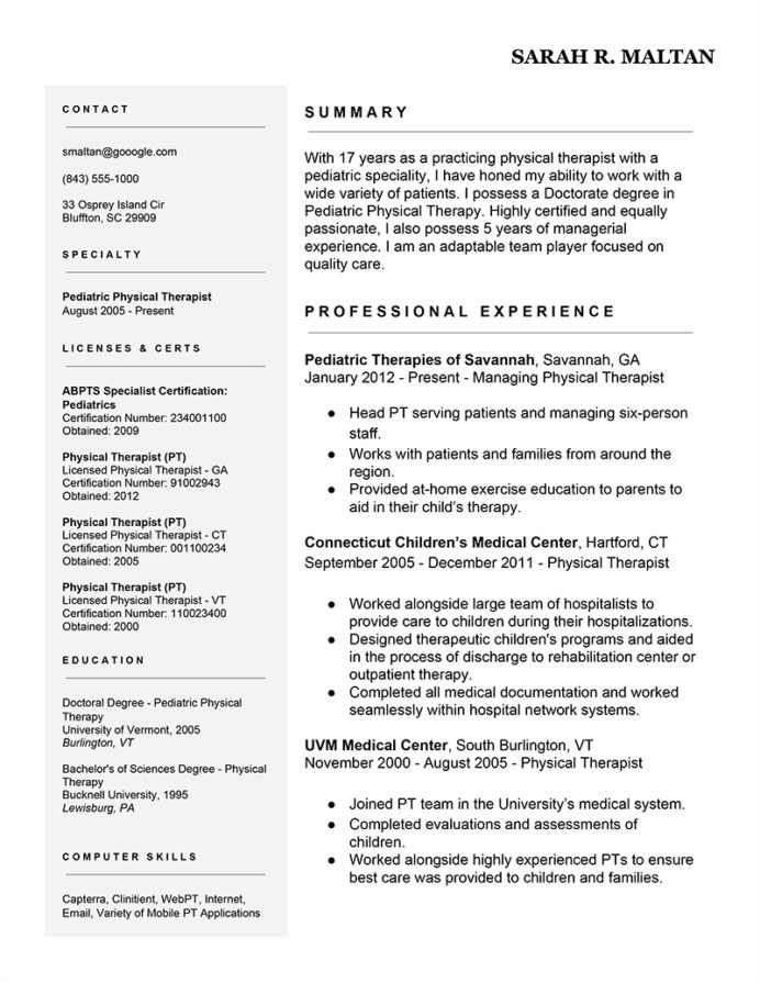 easy ways to improve your physical therapist resume therapy templates free example Resume Physical Therapy Resume Templates Free