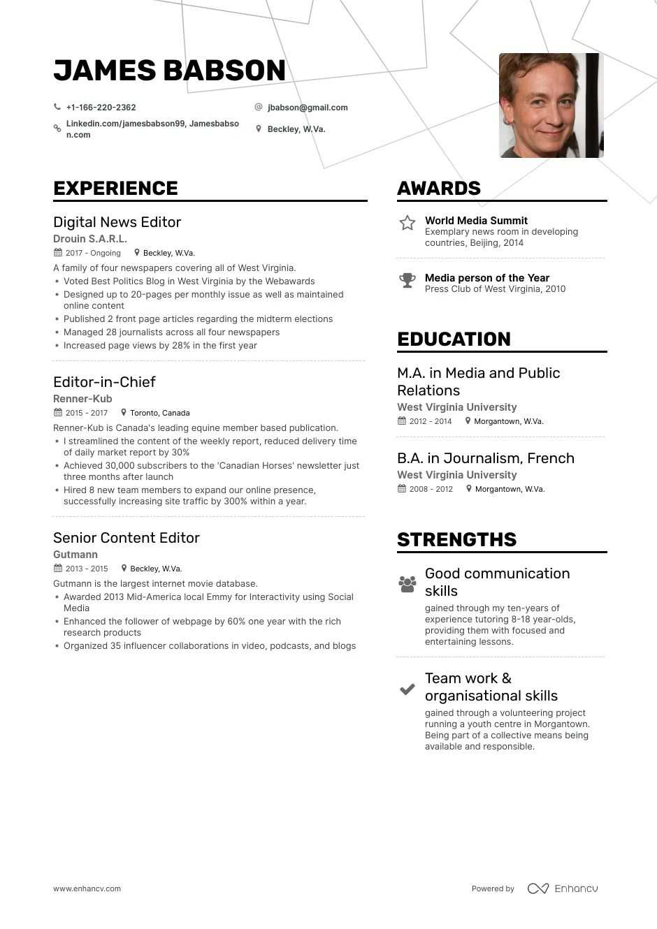 editor resume samples step by guide for enhancv editorial position free review marketing Resume Resume For Editorial Position