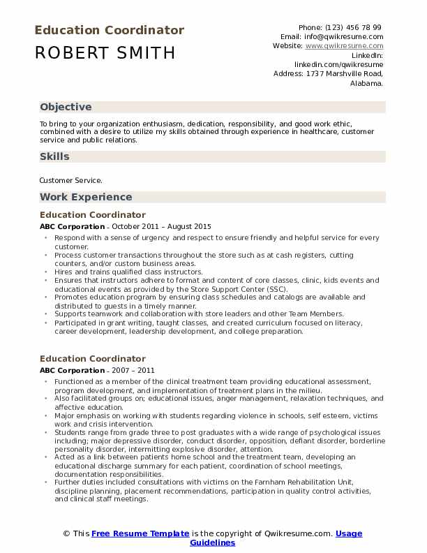 education coordinator resume samples qwikresume sample experience pdf format template Resume Sample Resume Education Experience