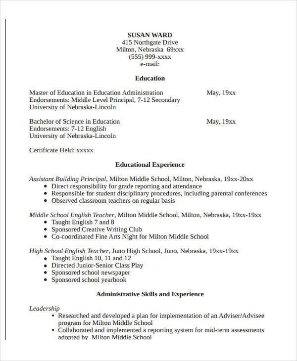 education resume templates pdf free premium including on administration format sample for Resume Including Education On Resume