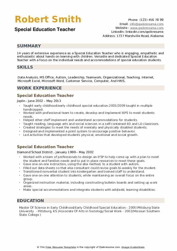 education teacher resume samples qwikresume summary examples pdf patent attorney sample Resume Sample Special Education Teacher Resume