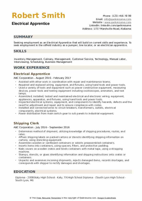 electrical apprentice resume samples qwikresume entry level pdf executive mba on records Resume Entry Level Electrical Apprentice Resume Samples