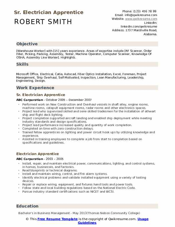 electrician apprentice resume samples qwikresume entry level electrical pdf executive mba Resume Entry Level Electrical Apprentice Resume Samples