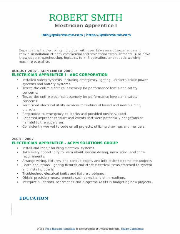 electrician apprentice resume samples qwikresume entry level electrical pdf free for Resume Entry Level Electrical Apprentice Resume Samples