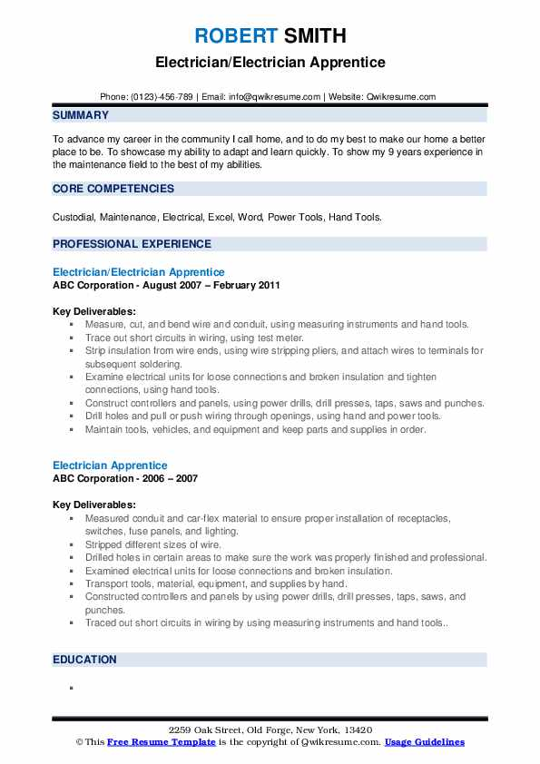 electrician apprentice resume samples qwikresume entry level electrical pdf test engineer Resume Entry Level Electrical Apprentice Resume Samples