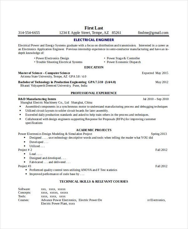 electronics resume template free word pdf document downloads premium templates format for Resume Resume Format For Msc Statistics Freshers