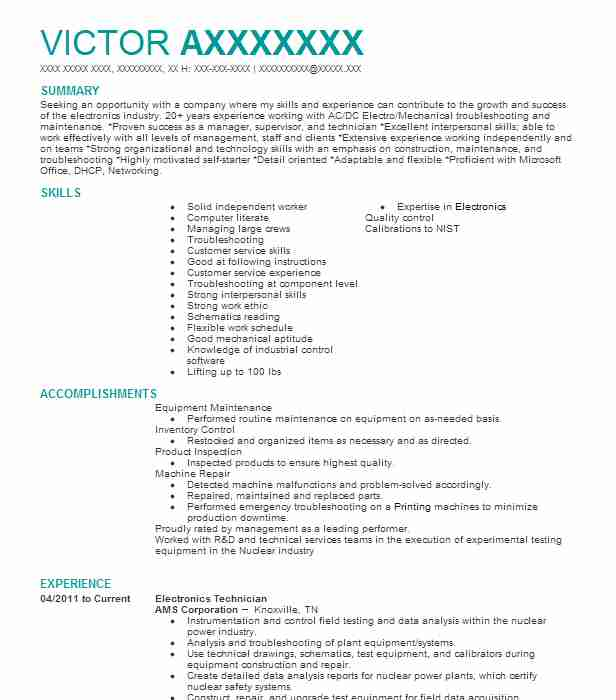 electronics technician resume example electrical engineering resumes skills critique uiuc Resume Electronics Skills Resume