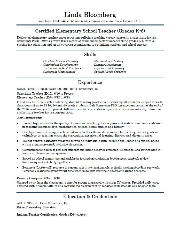 elementary school teacher resume template monster sample for teachers without experience Resume Sample Resume For Teachers Without Experience