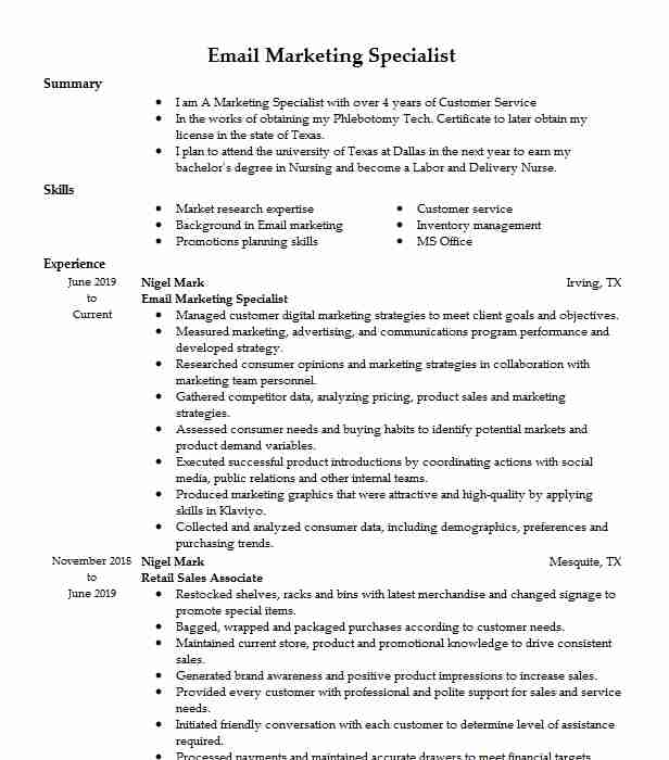 email marketing specialist resume example livecareer preparation personal assistant Resume Email Marketing Specialist Resume
