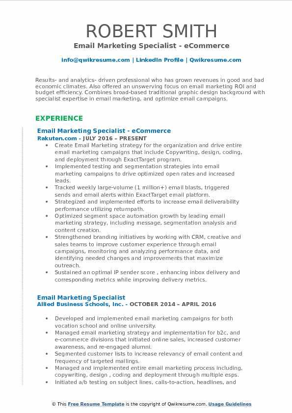 email marketing specialist resume samples qwikresume pdf brief summary of your background Resume Email Marketing Specialist Resume