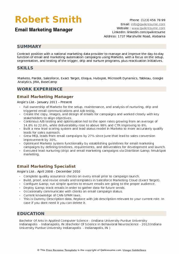 email marketing specialist resume samples qwikresume sample pdf h1b example first year Resume Email Marketing Resume Sample