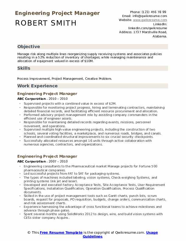 engineering project manager resume samples qwikresume examples pdf sample for planner Resume Engineering Project Manager Resume Examples