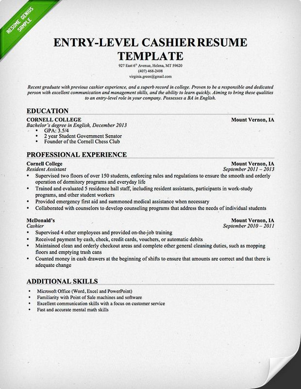 entry level cashier resume sample genius job samples examples retail for with no Resume Resume For Cashier With No Experience