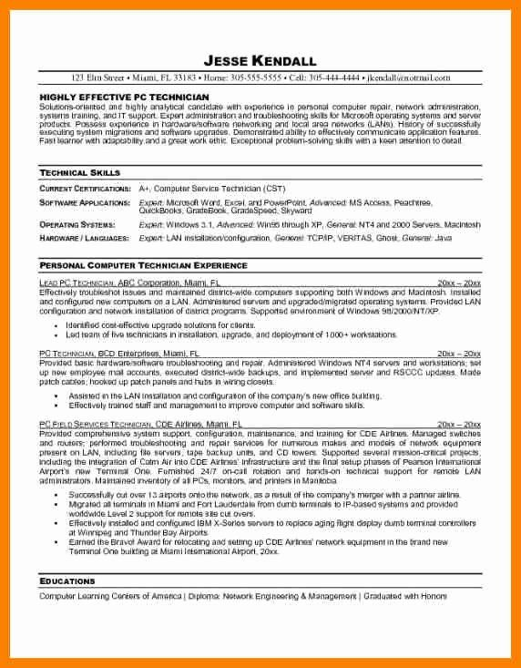 entry level help desk resume elegant pc technician computer support good examples Resume Entry Level Pc Technician Resume