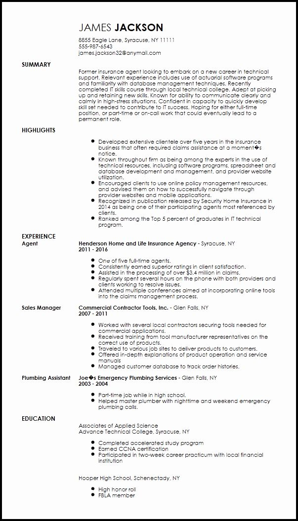 entry level information technology resume new free technical support specialist it Resume It Supports Resume Sample