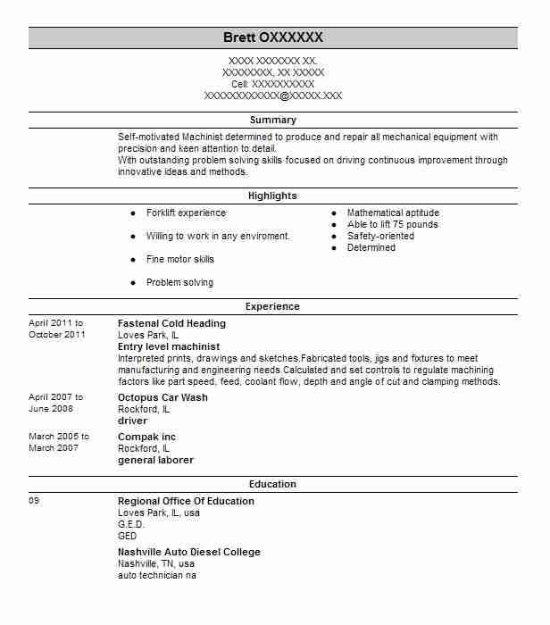 entry level machinist resume example arc industries schaumburg experience section general Resume Entry Level Machinist Resume