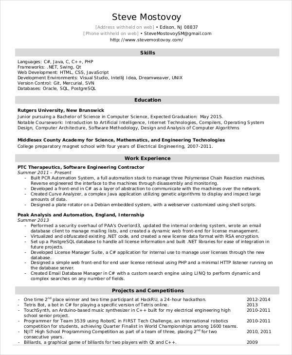 entry level software engineer resume sample tso example professional modern template free Resume Entry Level Software Engineer Resume
