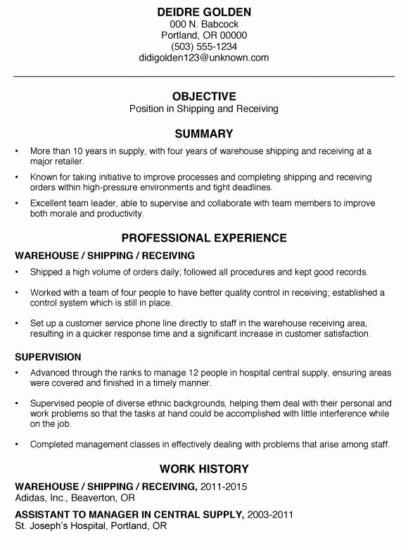 entry level warehouse resume beautiful functional sample shipping and receiving template Resume Shipping Job Description For Resume