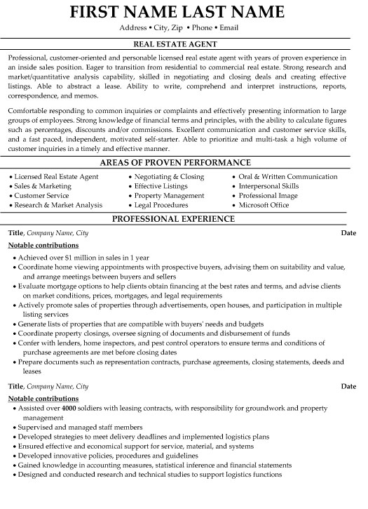 estate agent resume sample template writing great cover letter ticket free builder Resume Real Estate Resume Template