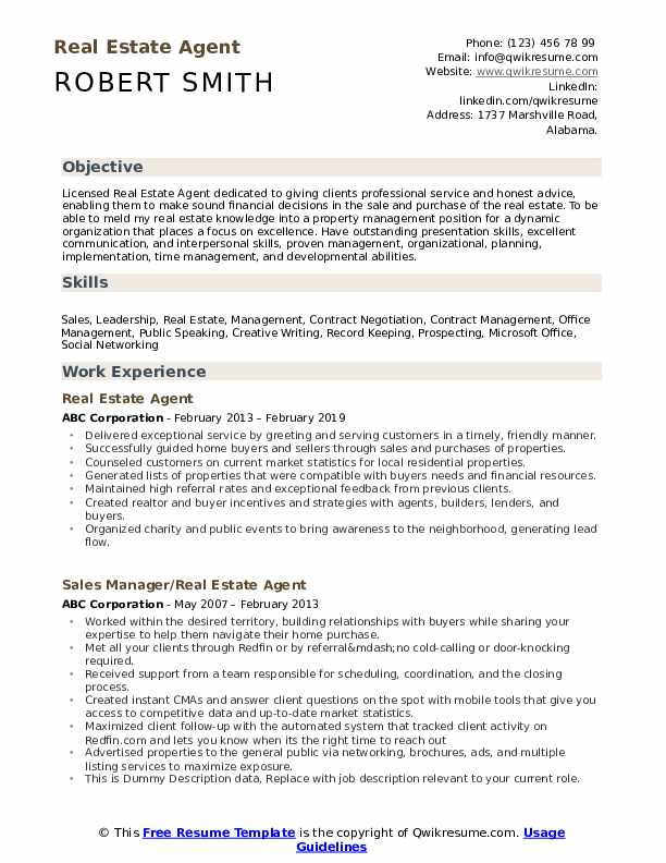 estate agent resume samples qwikresume format for job pdf generic summary ecu template Resume Resume Format For Real Estate Job