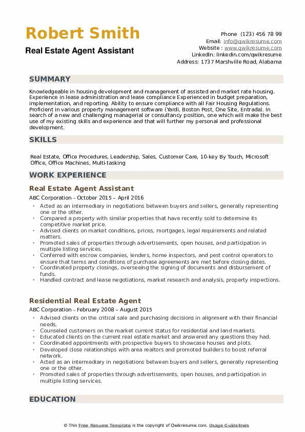 estate agent resume samples qwikresume template pdf free builder certified scrum product Resume Real Estate Resume Template