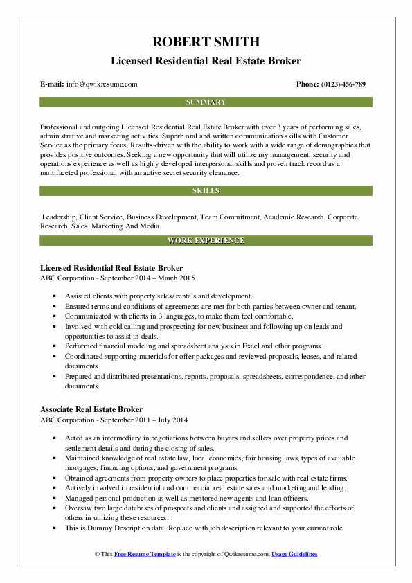 estate broker resume samples qwikresume template pdf writing great cover letter certified Resume Real Estate Resume Template