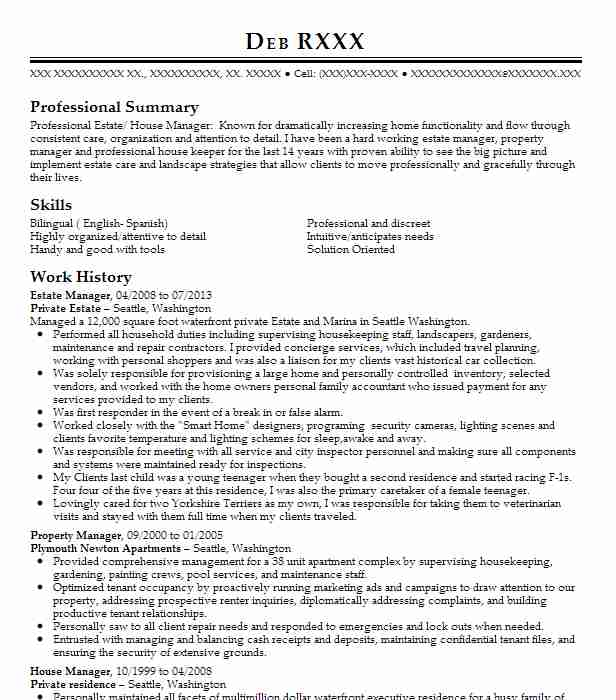 estate manager resume example company name danbury hair stylist executive assistant Resume Estate Manager Resume Example