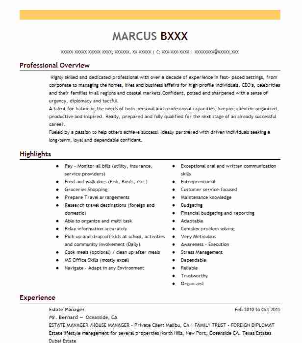 estate manager resume example company name healdsburg email writing for sending executive Resume Estate Manager Resume Example
