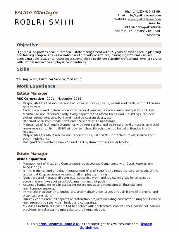 estate manager resume samples qwikresume example pdf nobel chief executive officer entry Resume Estate Manager Resume Example