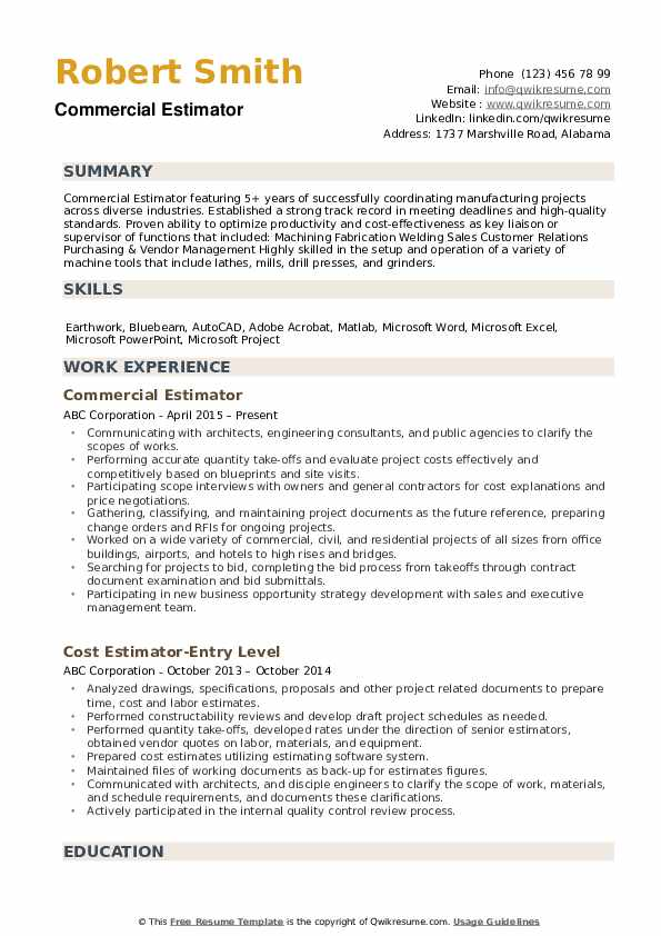 estimator resume samples qwikresume construction pdf professional and creative templates Resume Construction Estimator Resume
