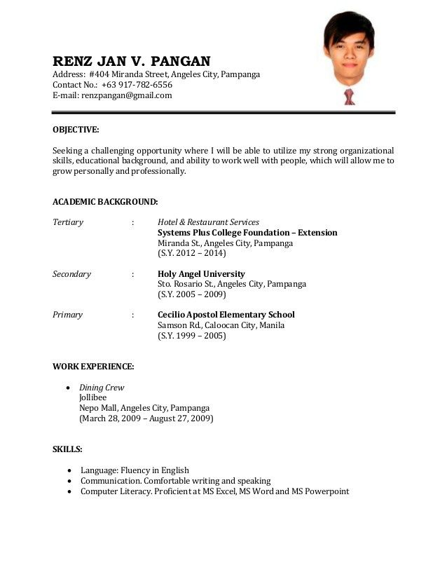 example of resume format for job cv sample perfect hvac technician statement examples Resume Perfect Resume For Job