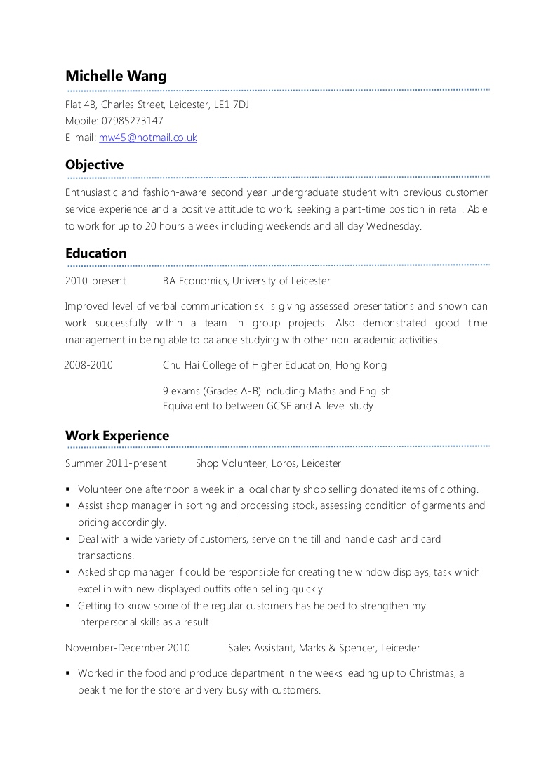 example part time cv resume for job college student exampleparttimecv phpapp01 thumbnail Resume Resume For Part Time Job College Student