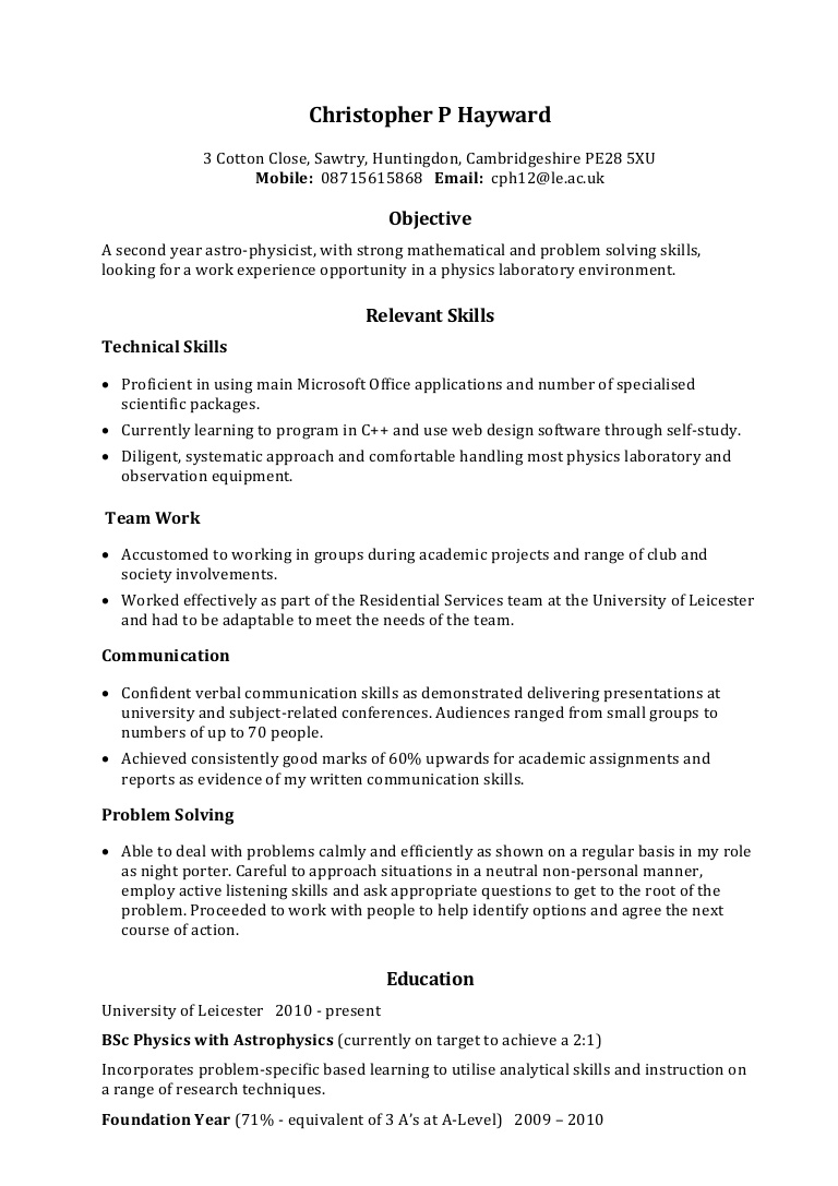 example skills based cv communication section on resume exampleskillsbasedcv phpapp02 Resume Communication Section On Resume