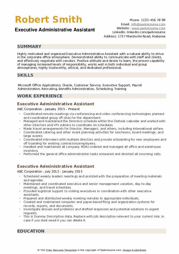 executive administrative assistant resume samples qwikresume pdf import export specialist Resume Executive Administrative Assistant Resume