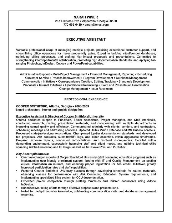 executive assistant resume example sample summary examples for experience exad13a vet job Resume Resume Summary Examples For Experience