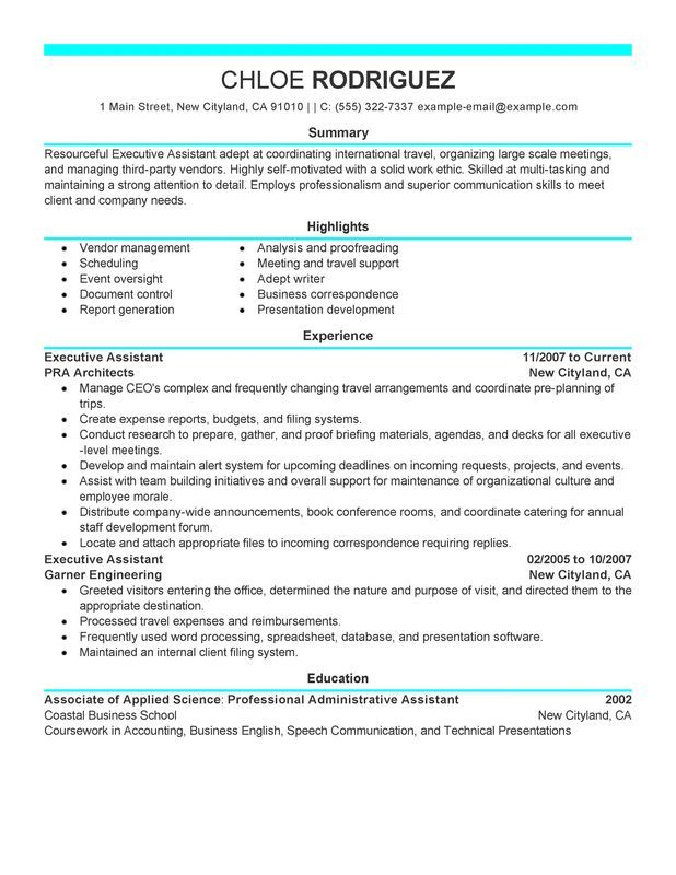 executive assistant resume sample my perfect administrative examples objective bartender Resume Executive Assistant Resume Examples