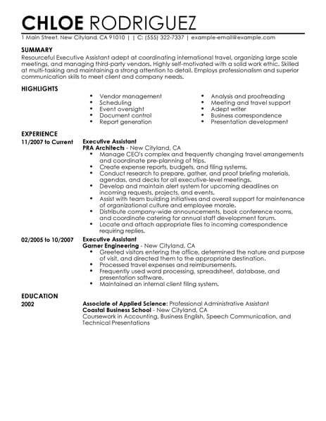 executive assistant resume template for microsoft word livecareer examples administration Resume Executive Assistant Resume Examples