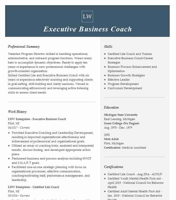 executive coach resume example company name brooklyn new professional coaching assistant Resume Professional Coaching Resume