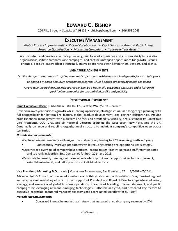 executive manager resume sample monster results driven example utility maintenance Resume Results Driven Resume Example