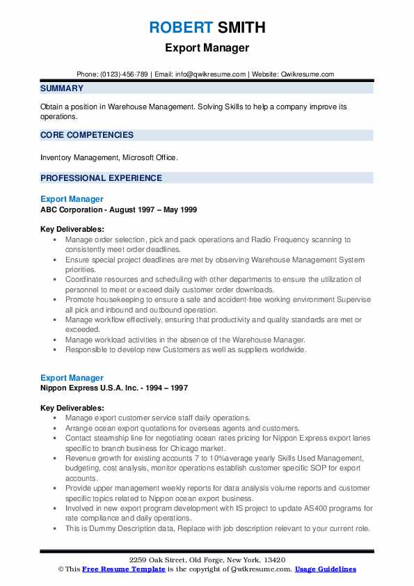 export manager resume samples qwikresume import format pdf for account assistant indian Resume Resume For Account Assistant Indian Format