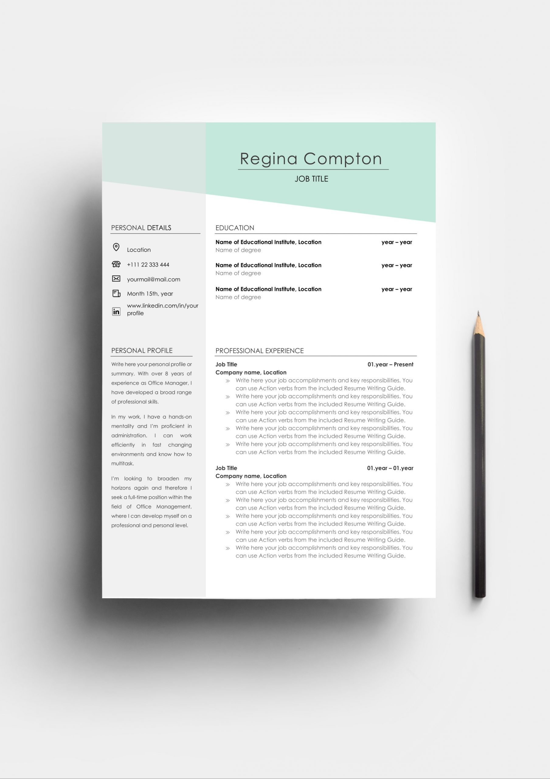 eye catching resume template and cover letter cv regina compton grey scaled chief Resume Eye Catching Resume 2020
