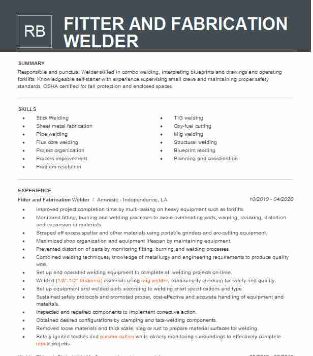 fabrication fitter resume example company name tomball interior designer sample plant Resume Fabrication Fitter Resume