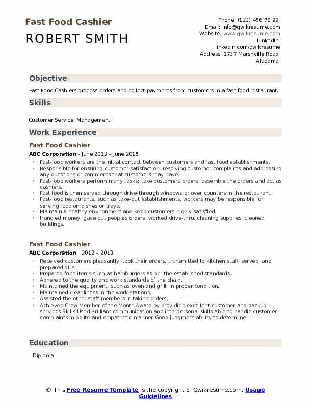 fast food cashier resume samples qwikresume restaurant duties pdf dos and donts objective Resume Restaurant Cashier Duties Resume