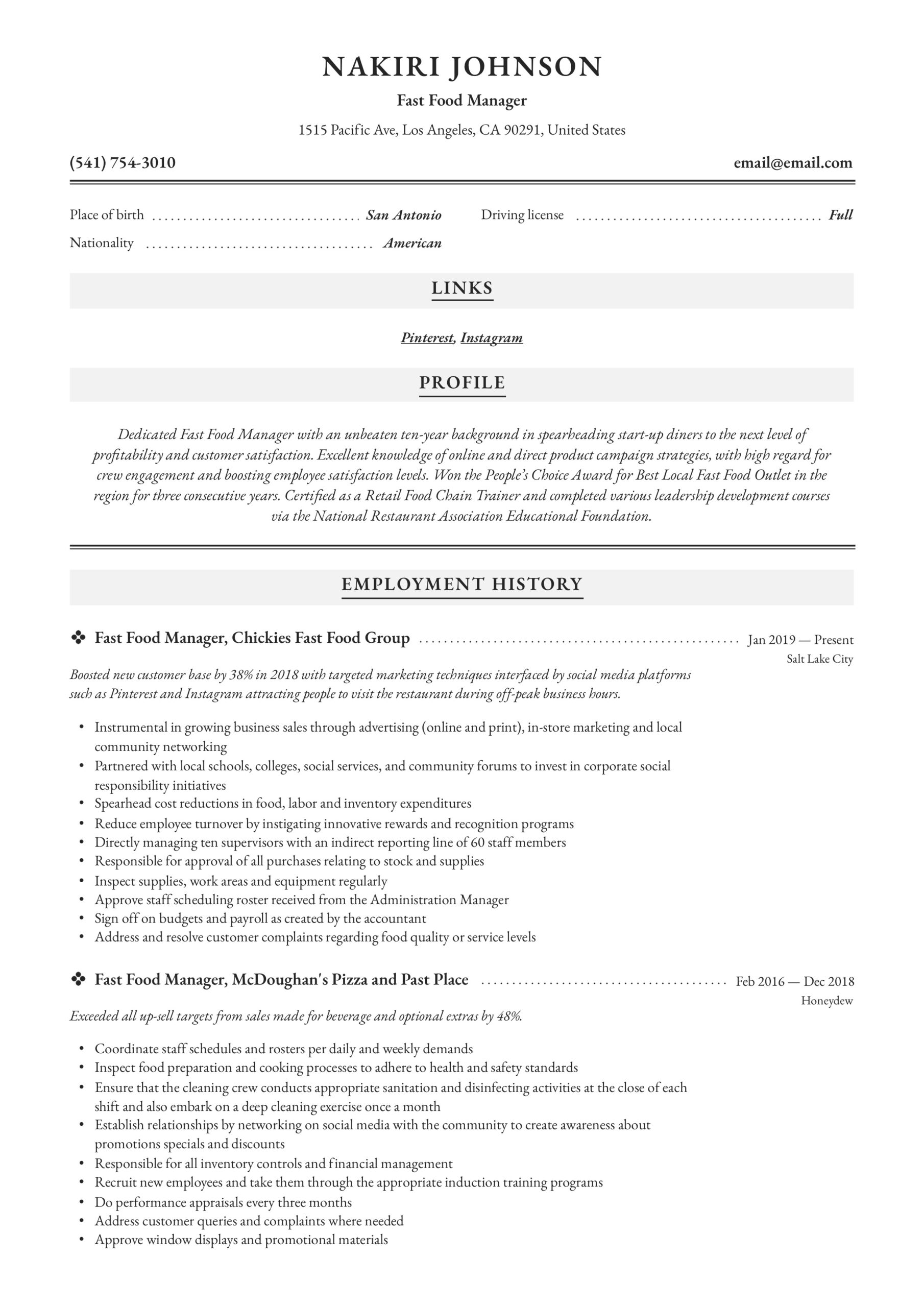 fast food manager resume writing guide examples responsibilities can you lie on your Resume Fast Food Responsibilities Resume
