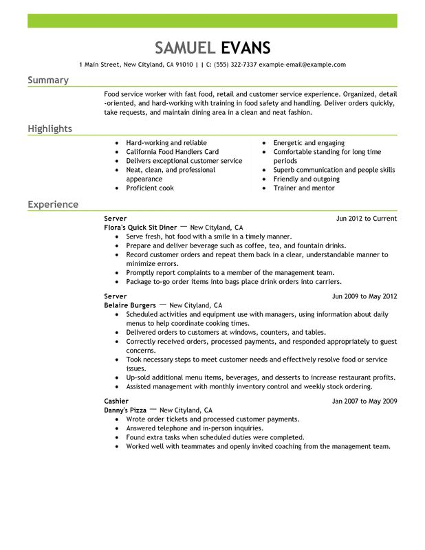 fast food server resume examples free to try today myperfectresume safety sample and Resume Food Safety Resume Sample