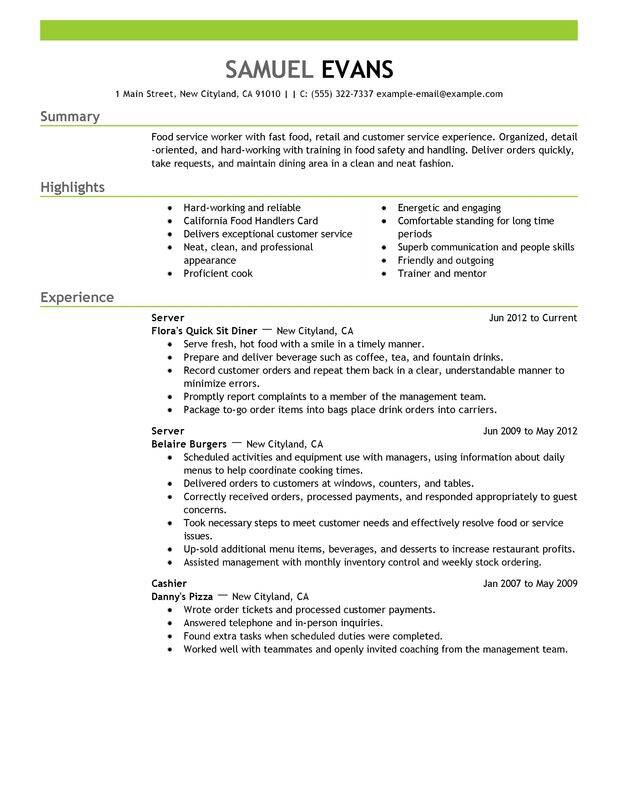 fast food server resume examples free to try today myperfectresume summary for and Resume Resume Summary Examples For Server