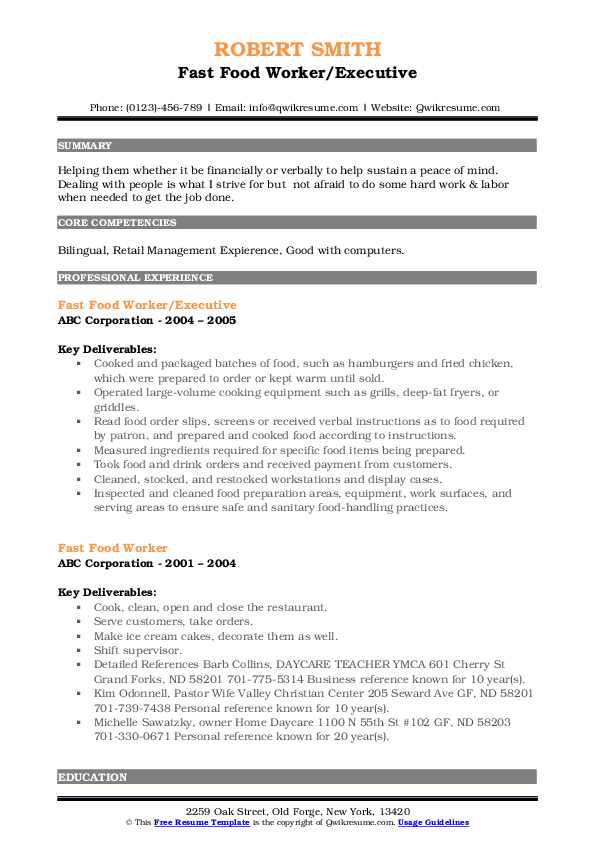 fast food worker resume samples qwikresume skills pdf front of house staff interests look Resume Front Of House Staff Resume