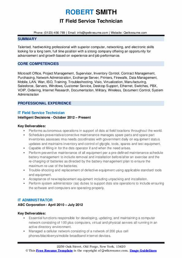 field service technician resume samples qwikresume pdf craft business skills for Resume Field Service Technician Resume