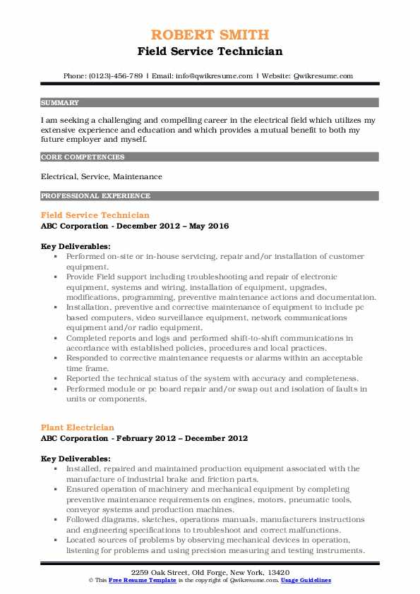 field service technician resume samples qwikresume pdf unh help teacher aide examples Resume Field Service Technician Resume